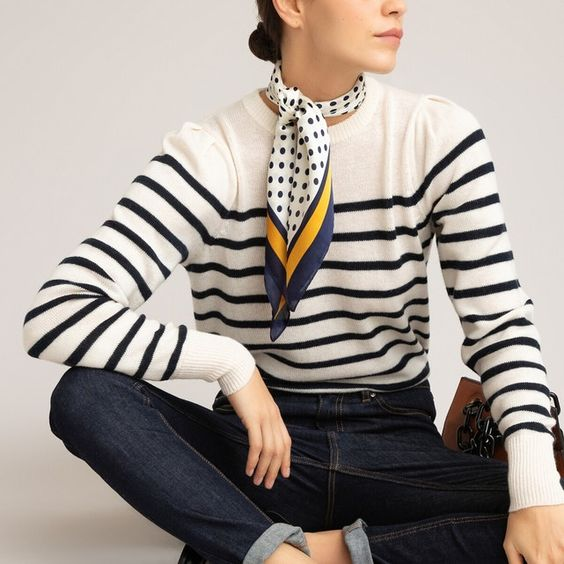 Recycled wool mix jumper with breton stripes , ivory / navy stripe, La Redoute Collections | La Redoute