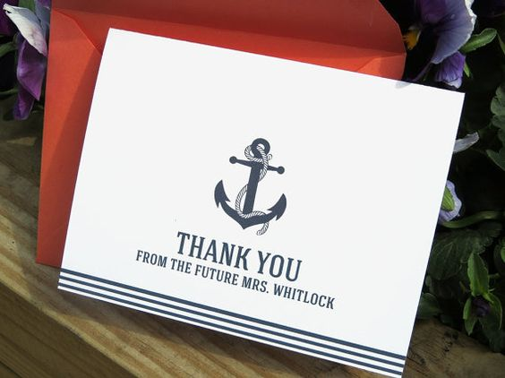 Customizable Nautical Bridal Shower, Bachelorette, Wedding, Newlywed Thank You Card Set
