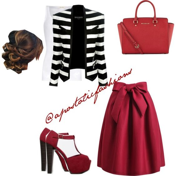 Apostolic Fashions #155 by apostolicfashions on Polyvore featuring American Vintage, Balmain, Breckelle's and MICHAEL Michael Kors