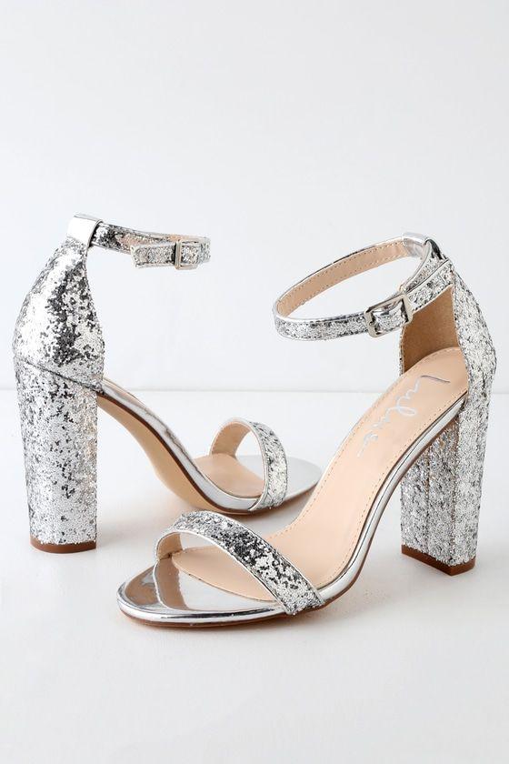 Silver Glitter Heels Cheap