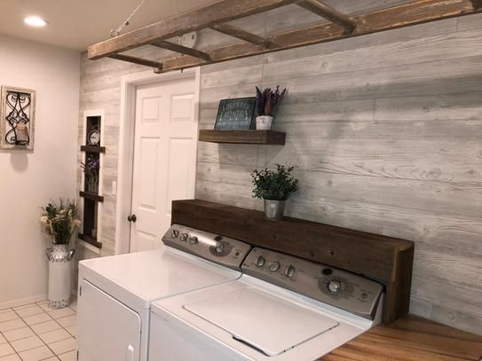 Surprise Laundry Room Renovation While My Wife Was Out Of Town White Wood Paneling White Paneling White Wall Paneling