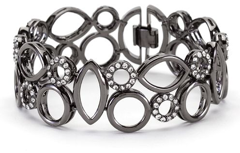 Geometric Bracelet. Hematite and Diamond CZ's.