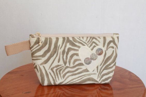 Heart and Zebra Print Cosmetic Purse with buttons by EverSewNice