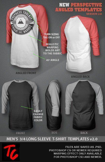 Template Kaos Lengan Panjang : template, lengan, panjang, Ghosted, Sleeve, Raglan, T-Shirt, Template, (PSD), TheCollectionPh, Kaos,, Desain