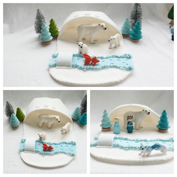 Snowy River Polar Play Winter Cave Playscape Play Mat - wool felt storytelling fairytale - Dollhouse woodland toy unisex snow play mat
