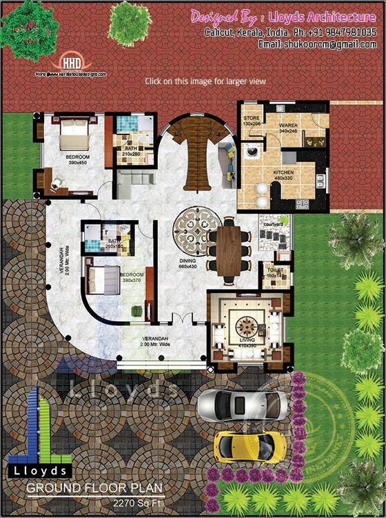 5 Bedroom Luxurious Bungalow Floor Plan And 3d View Floor Plans Mansion Floor Plan Bungalow Floor Plans