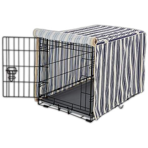 Wrap Up Your Pup In A Cozy Den Like Experience With The You Me Striped Dog Crate Cover This Crating Must Have Feature Crate Cover Dog Crate Cover Dog Crate