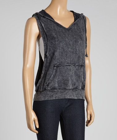 Another great find on #zulily! Black Distressed Sleeveless Hoodie by Feathers #zulilyfinds