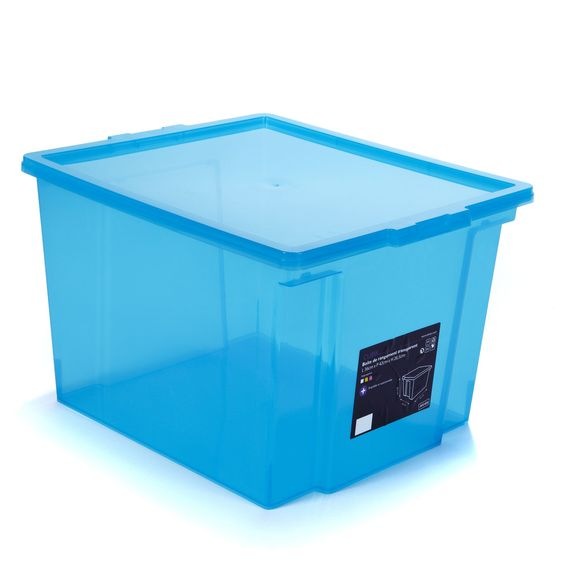 bote de rangement bleue 30 l bleu transparent cubik les boites en plastique