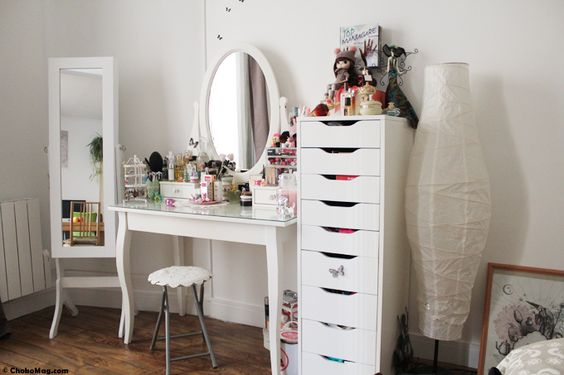 Pi ces de monnaie google and armoires on pinterest for Meuble coiffeuse maquilleuse ikea