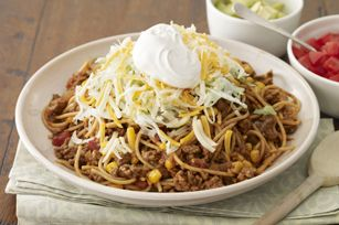 """Taco Pasta Toss.  Tried this and loved it. A nice """"twist"""" on traditional spaghetti.  Substituted rotel though for the salsa though - and obvioulsy didn't use any lettuce (yuk!)."""