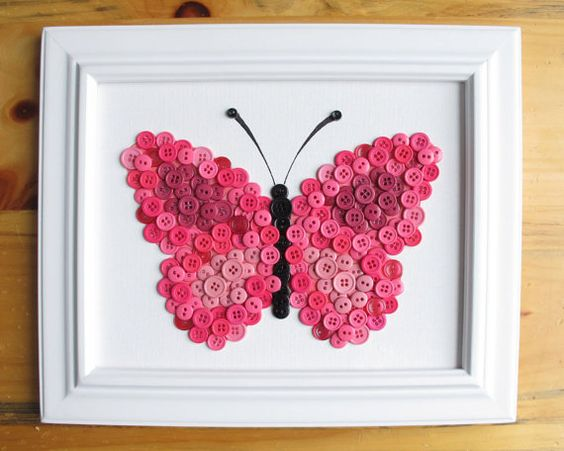 Button Art Animal Butterfly Pink Canvas Panel 8x10 by HydeParkHome, $25.00
