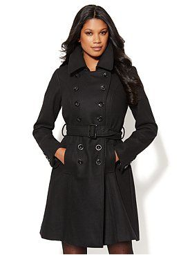 Wool-Blend Double-Breasted Trench from New York & Company: