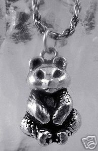 New 3D Chinese Panda Bear Charm Sterling Silver Pendant Sterling Silver 925 Jewelry