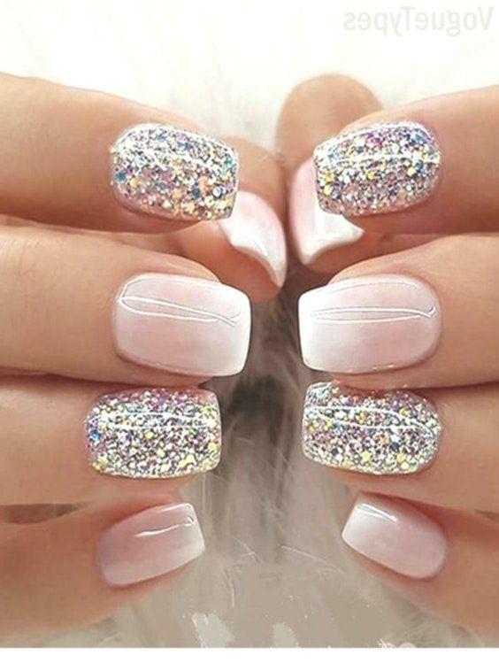 Milky White Ombre Glitter Nail Designs Designs Glitter Milky