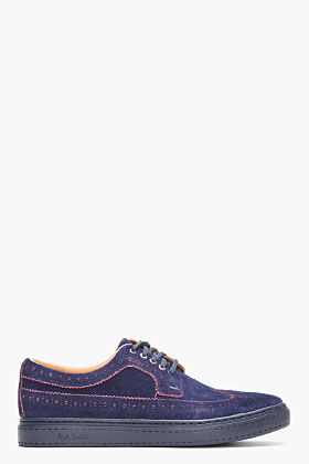 Paul Smith Jeans Navy Suede Longwing Brogue Sneakers for men | SSENSE