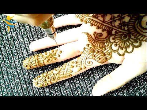 رسمة بالحناء على كف اليد باستخدام ابرة النقش الزجاجية مع ام خولة Youtube Henna Hand Tattoo Hand Henna Hand Tattoos