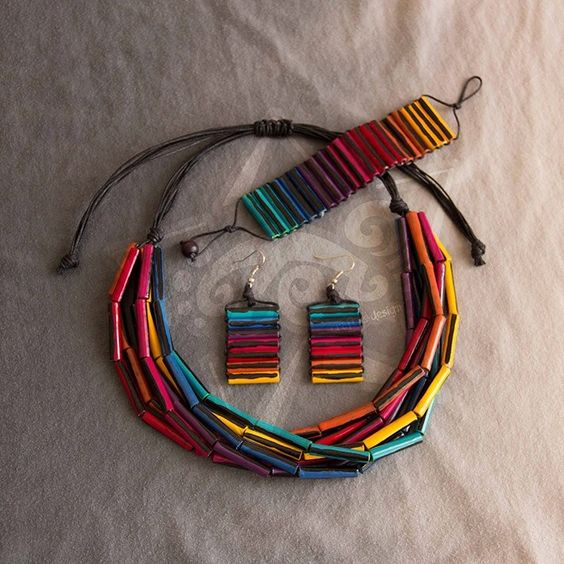 colorful paper bead necklace - Very nice! Have made similar looking jewelry by rolling sticky notes in various colors.