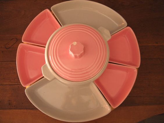 50s Lazy Susan  1950s Lazy Susan  Pink White by EmpireAbode