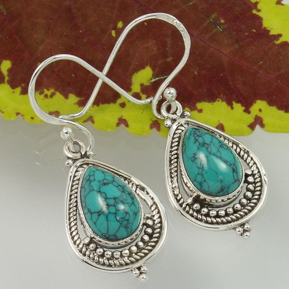 925 Sterling Silver TURQUOISE (S) Gemstones Tribal Jewelry Earrings Manufacturer #Unbranded #DropDangle