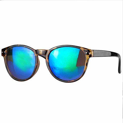 caripe Retro Sonnenbrille Hornbrille Brille -139 (3848 - bluegreen verspiegelt)