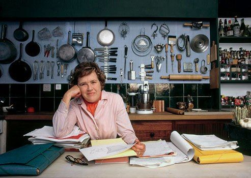 Julia Child, photographed in her Cambridge, Massachusetts, kitchen, June 29, 1970. By Arnold Newman/Getty Images.   Notice the magnetic knife holder and the open storage?