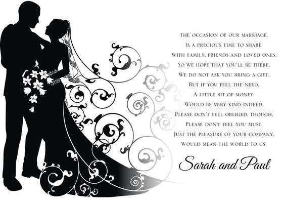 Wedding Invitation Wording For Monetary Gifts: Use These New Poem Cards To Ask For Money As A Wedding