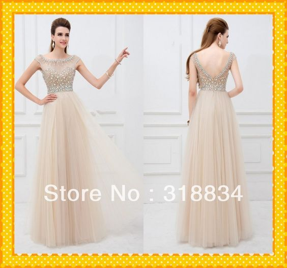 2014 Hot Sale Champagne Organza A-Line Dresses With Silver Crystals Cap Short Sleeve See Through V-Back Simple Prom Dress Gowns