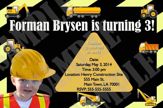 Construction Birthday Package by InvitasticInvites on Etsy, $35.00