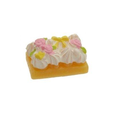 Cupcakes & Snoepjes :: cabochon taart wit 13x19 mm - Kralen en kralen