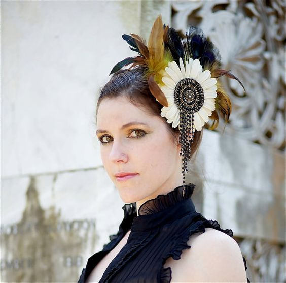Feather Fascinator with Cream, Black Peacock and Copper Accents- Limited - BLACK SWAN