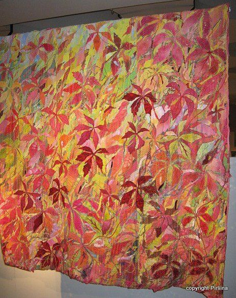 Maija Brummer uses a variety of cottons, silk, dyes, and gets beautiful artistic #quilts. This is one of several leaf quilts of hers.