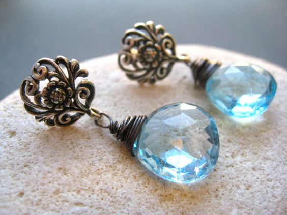 Swiss Blue Topaz Exquisit  Drop Earrings Mother Day by SMVdesigns, $59.00