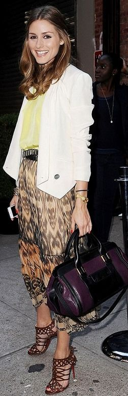 Who made  Olivia Palermo's purple handbag, white blazer, and brown sandals that she wore in New York on June 12, 2013?