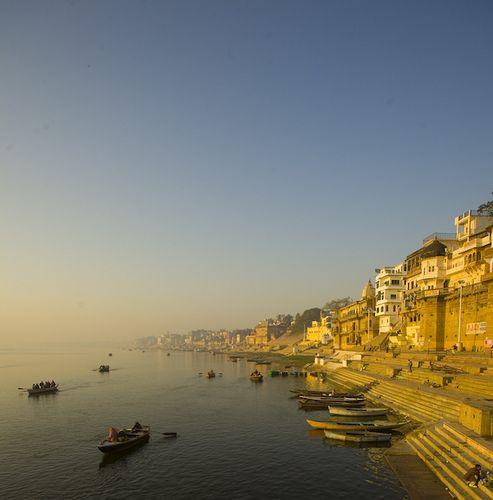 Boats on the banks of river Ganga, Kashi, Uttar Pradesh, India