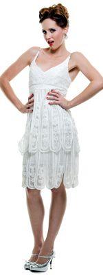 1920's Flapper Style White Battenburg Lace Dress - XS to XL