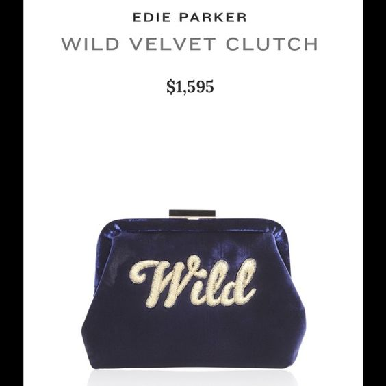 """Edie Parker Lauren """"Wild"""" Evening Bag Won this Brand New Edie Parker """"Lauren Wild"""" evening clutch. Navy with gold script text and gold chain. Features satin lining with interior pocket. Includes dust bag and vanity mirror with Edie Parker signature. Comes in original box. Retails at $1,595.00. Not my style, so I'm selling it. Literally never worn. Edie Parker Bags Clutches & Wristlets"""
