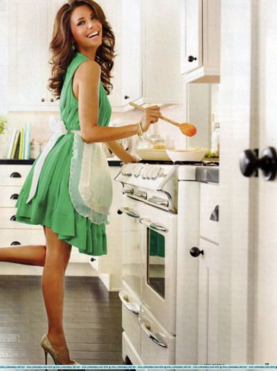 Yes, this is how I cook...heels and a sexy dress...*rolling eyes ...