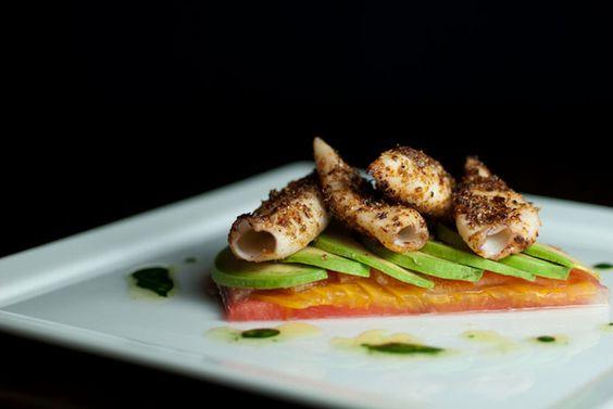 Pan Seared Calamari, Spicy Coriander Vinaigrette, Watermelon, Tomato ...