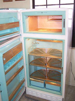 Vintage Refrigerator With Lazy Susan Shelves Kitchen