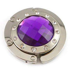 Valentines Day Gifts For Women Crystal Folding Bag Purse Handbag Hook Hanger Hold Holder with Rhinestone Accessory Dark Purple