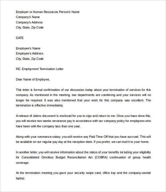 Job Termination Letter Free Word Pdf Documents Download Templates