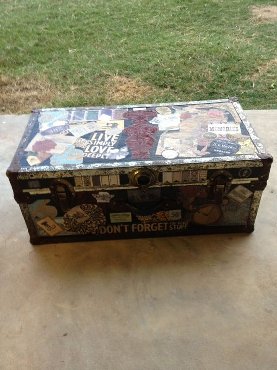 Antique Trunk Decoupaged with Antique and by SouthernPlantationSt, $216.50