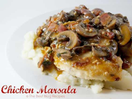 Chicken Marsala recipe from The Best Blog Recipes!  Such a great flavor and so delicious served over mashed potatoes!  #recipes #chicken #mushrooms