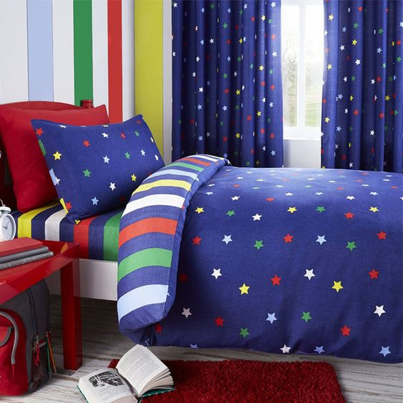 Blue Curtains blue curtains with white stars : Blue multi star kids duvet cover | Duvet covers, The o'jays and ...