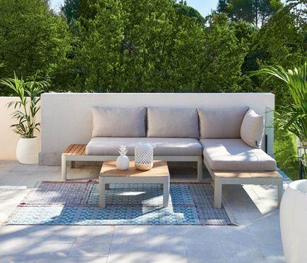 Conjunto De Muebles De Exterior Para Jardin O Terraza Compuesto Por Una Mesa De Comedor Y Un Sofa Con Cha Outdoor Sectional Sofa Outdoor Furniture Outdoor Sofa