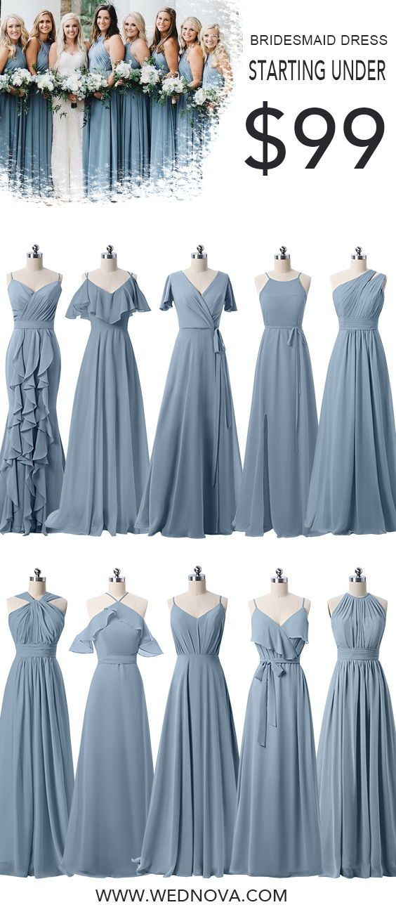 Dusty blue bridesmaid dresses under $99