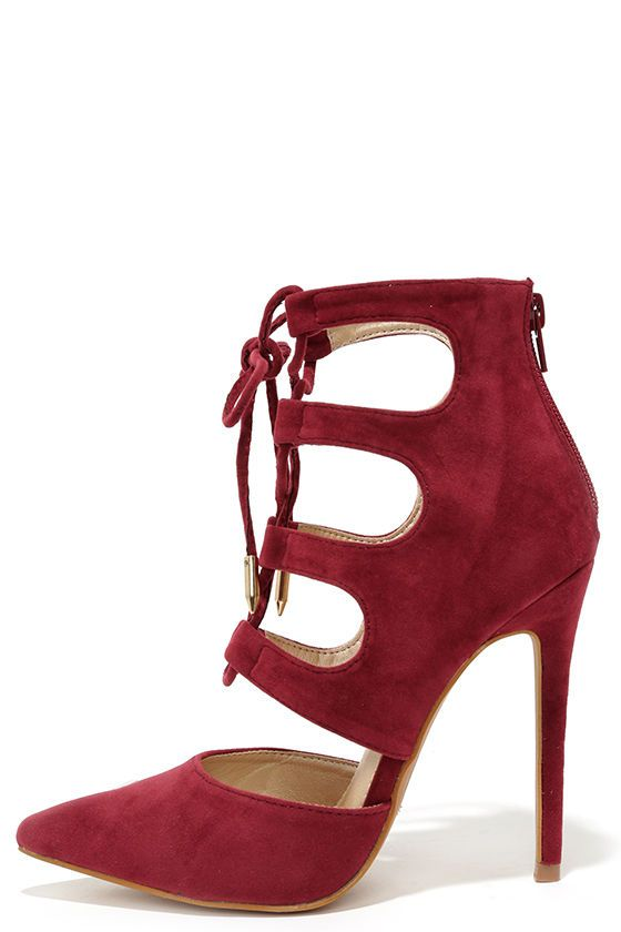 Ties for You Wine Red Suede Lace-Up Heels | Lace, Lace up heels ...