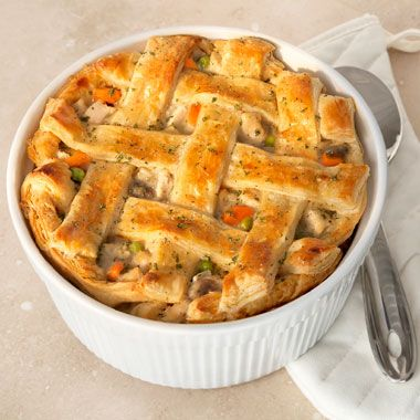 The Ultimate Chicken Pot Pie:  A light and flaky puff pastry crust is what makes this pot pie the ultimate. It's a great way to turn leftover chicken and veggies into a whole new and delicious dish.