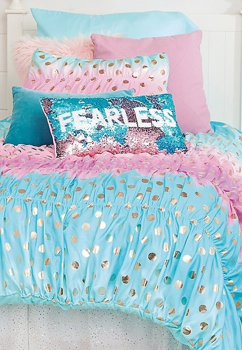 Ombre Foil Dot Bed In A Bag Twin Size Justice Bed For Girls